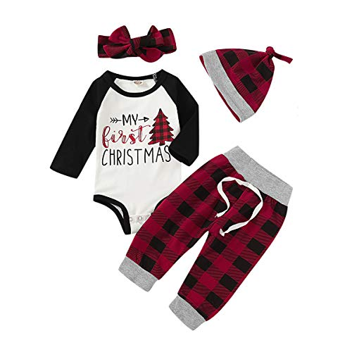 Newborn Baby Boy Girl Christmas Outfits My First Christmas Long Sleeve Romper Bodysuit Plaid Pants Clothes Set (red & Black Plaid, 12-18 Months)