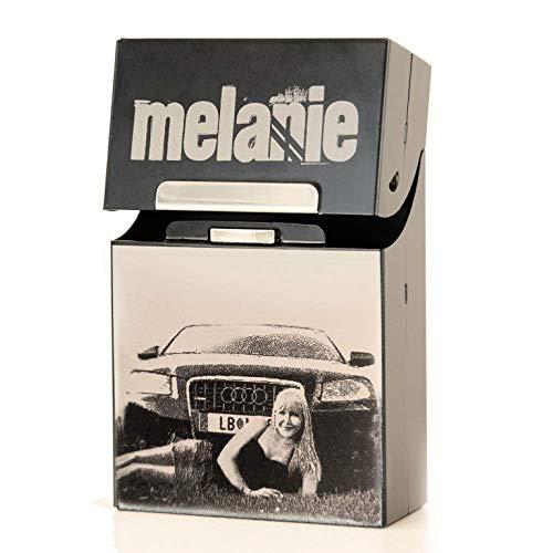 Zigarettenschachtel Box Etui schwarz matt mit Fotogravur | Zigarettenetui