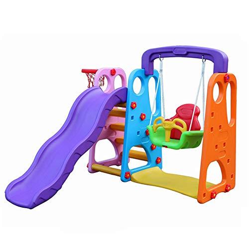 Kinder Spielplatz Schaukel mit Rutsche und Basketballkorb Kombination für Indoor/Outdoor Garten Rutschbahn/Kinderschaukel,C