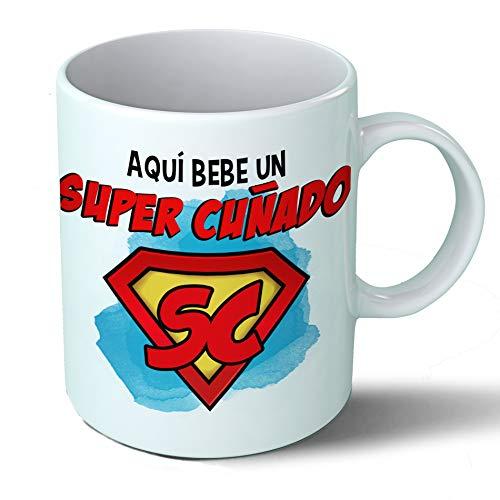 Planetacase Taza Cuñado - Aquí Bebe Un Super Cuñado - Regalo Original Cuñados Supercuñado Familia Taza Desayuno Café Ceramica 330 mL