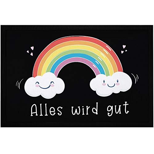 MoonWorks® Fußmatte Regenbogen Alles Wird gut Mutmacher Geschenk Trost Aufmunterung positiv Denken durchhalten weiß 60x40cm