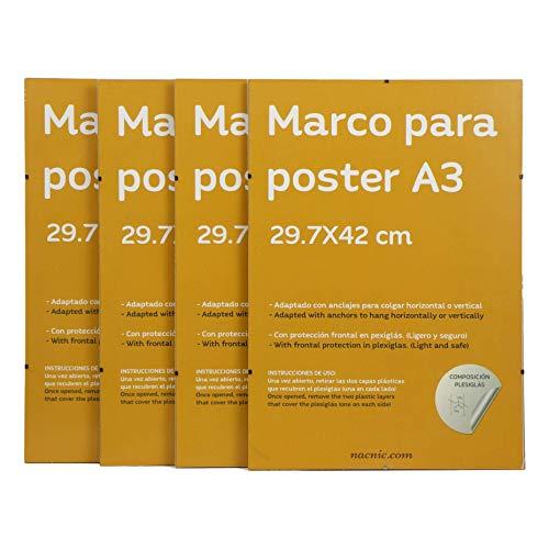 Set 4 marcos transparentes de clip . Soportes transparentes para fotos, posters, diplomas, dibujos o láminas. Tamaño A3 (29.7x42 cm). Marcos clip transparentes con plexiglas y anclajes para colgar.