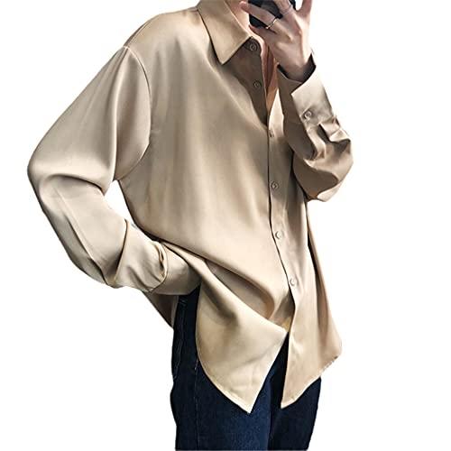 RFXZSAQD Chic Women Satin Shirts, Long Sleeve Solid Elegant Office Shirts, Ladies Turn-Down Collar Workwear Blouses Champagne
