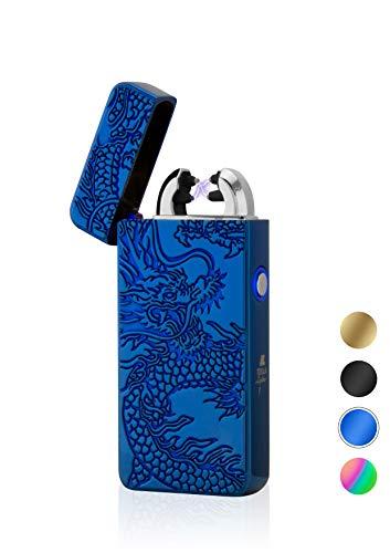 TESLA Lighter T08 Lichtbogen Feuerzeug, Plasma Double-Arc, elektronisch wiederaufladbar, aufladbar mit Strom per USB, ohne Gas und Benzin, mit Ladekabel, in edler Geschenkverpackung, Drache Blau