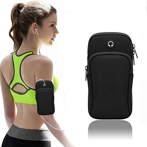 Fomoyi Laufarmband, Armtasche, Handyhalterung zum Laufen, Multi-Handy-Armband, Tasche für Fitnessstudio, Workout, Jogging, Training, geeignet für iPhone 11 Pro Max XS XR X 8 7 6 6S Plus (schwarz)