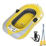 YQDS PVC Barca Hinchable Lancha Bote Inflable 1 Persona Bote Inflable Kayak para La Pesca A La Deriva De Buceo 55Kg Carga sobre El Apoyo con Bomba, Remos Amarillo