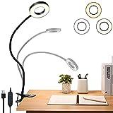 Sunnest LED Leselampe Augenpflege Leseleuchte,48 Leds Klemmlicht 360° Schwanenhals Schreibtischlampe,dimmbare Klemmleuchte für Schlafzimmer und Büro mit 3 Modi und 10 Helligkeitsstufen, 8.5W (schwarz)
