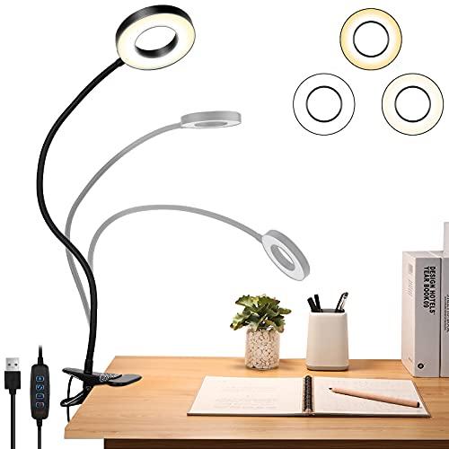 Sunnest LED-Leselampe Augenpflege Leseleuchte,48 Leds Klemmlicht 360° Schwanenhals Schreibtischlampe,dimmbare Klemmleuchte für Schlafzimmer und Büro mit 3 Modi und 10 Helligkeitsstufen, 8.5W (schwarz)