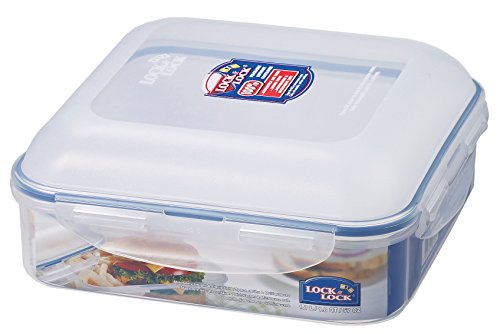 LOCK & LOCK 7.2 Cups Hamburger Case Square Storage Container, Clear