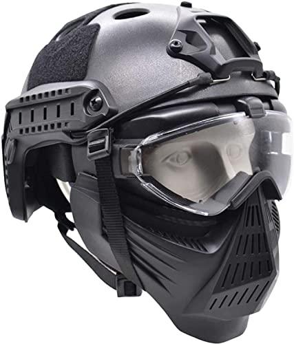 Máscara táctica y Casco rápido, máscara Protectora antivaho Transparente de Cara Completa, Adecuada para Juegos de Supervivencia CS, Juegos de rol de Paintball
