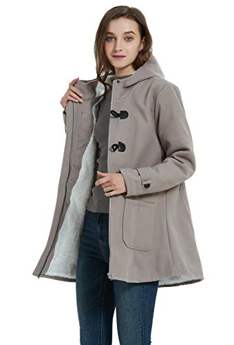 VOGRYE Womens Winter Fashion Outdoor Warm Wool Blended Classic Pea Coat Jacket (7 Days delivery or Refund) (XL, Grey-Thicker)