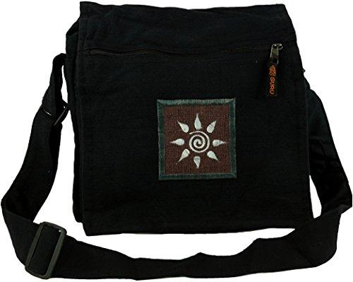 GURU SHOP Kleine Schultertasche, Hippie Tasche, Goa Tasche - Schwarz, Herren/Damen, Baumwolle, Size:One Size, 22x22x10 cm, Alternative Umhängetasche, Handtasche aus Stoff