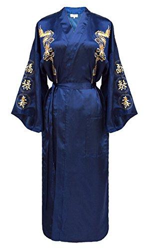 kimono japonés para mujer, bata elegante estilo chino azul