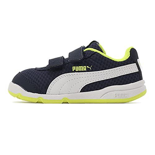 Puma Stepfleex 2 Mesh Ve V Inf, Scarpe da Ginnastica Unisex-Bambini, Peacoat Avviso Bianco/Giallo, 37.5 EU