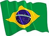 Etaia - 8x10,5 cm Auto Aufkleber wehende Fahne/Flagge von Brasilien Brazil Brasil Sticker Motorrad Handy Länder