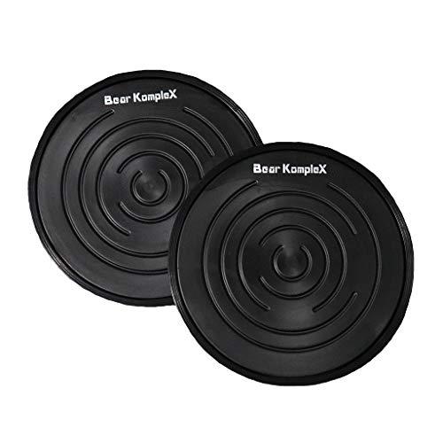 Bear KompleX - Discos de núcleo deslizante, pack de 2 cursores de fitness de doble cara para entrenamientos en casa, ejercicio en superficies de madera dura o moqueta