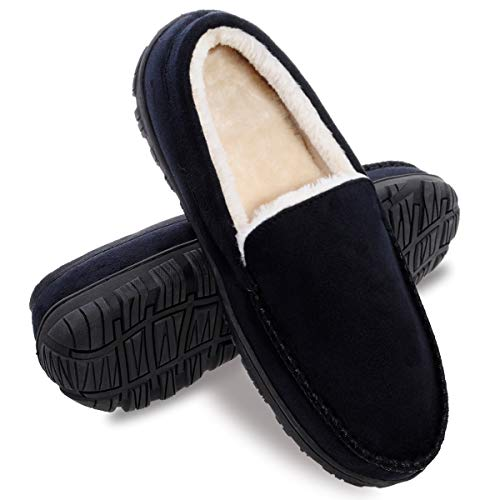 festooning Mens Slippers Size 10, Moccasin Slipper with Memory Foam,House Slippers for Men with Anti-Skid Rubber Sole Indoor/Outdoor Black 10 M US
