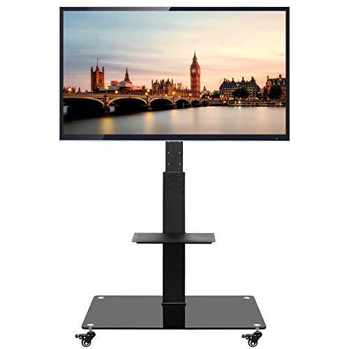 RFIVER Supporto TV da Pavimento con Ruote Carrello TV Stand per 37-70 pollici LED LCD OLED Plasma e Ripiani in Vetro Nero TF5001