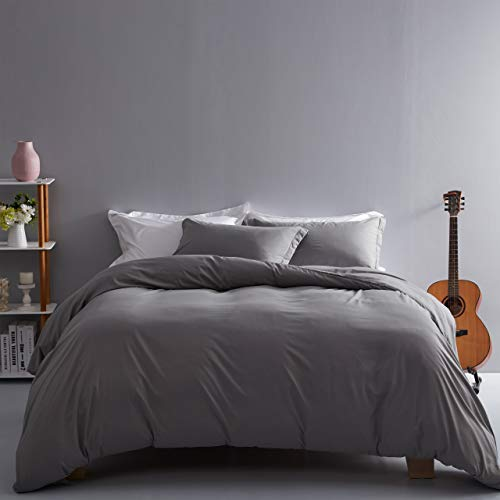 Ousidan 3 Pieces Duvet Cover Set Soft Brushed Microfiber Cover Set 1 Comforter Cover 2 Pillow Shams with Button Closure and Concealed Ties. (King-106x90inches, Light Grey)