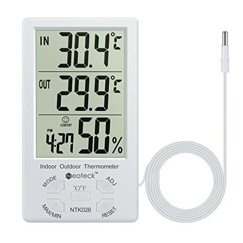 Neoteck Digitale LCD Termometro Igrometro Interno Esterno Misuratore Temperatura Umidità Valore Min/Max con Funzione Sveglia e 1.5M Filo di Sensore per Controllo di Aria Condizionata - Bianco