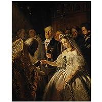 Qqwer ロシアの有名な絵画ヴァシーリープキレフによる不平等な結婚油絵の複製はキャンバスに印刷されますクアドロス装飾-60X80Cmx1Pcs-フレームなし