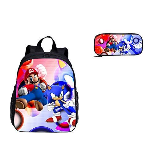Paquete 2 uds, Conjunto mochila escolar jardín infantes, mochila escolar con estampado Super Mario Vs Sonic The Hedgehog niños y niñas, mochila viaje, mochila escolar