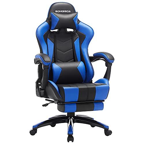 SONGMICS Fauteuil gamer, Chaise gaming, Siège de bureau ergonomique, repose-pieds télescopique, dossier réglable de 90° à 135°, accoudoirs synchronisés, charge 150 kg, Noir et Bleu RCG026B01