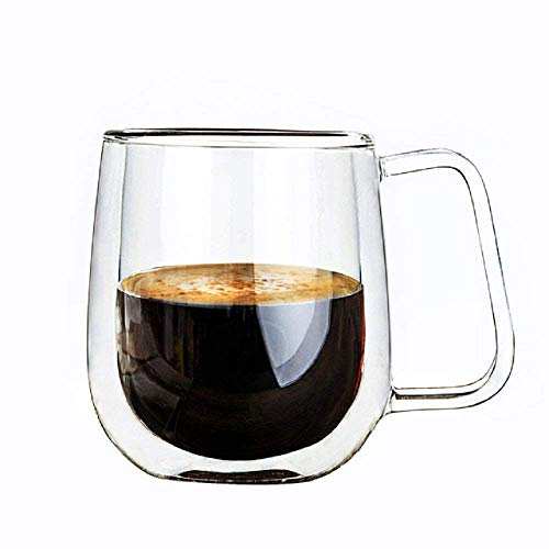 Vicloon Cristal Vidrio de Doble Pared, Taza de Cafe Doble 250 ml, Tazas de Cafe Resistentes al Calor, Doble Pared de Vidrio de Borosilicato Adecuado para Te, Cafe, Capuchino (Set de 1)