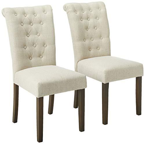 Merax Lujoso Tela sillas de Comedor con Patas de Madera Maciza Conjunto de 2(Color Beige)