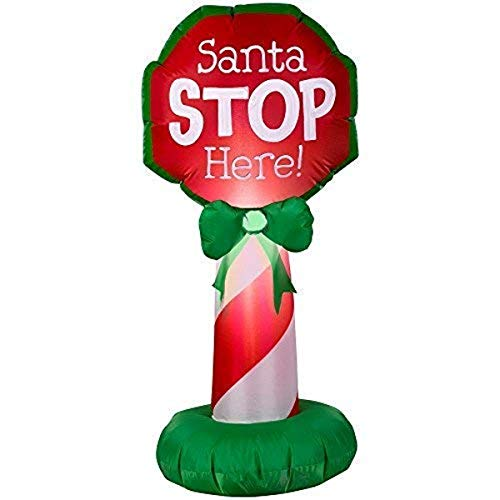 Gemmy 15291 Santa Stop Here Sign Christmas Inflatable 3.5 FT TALL