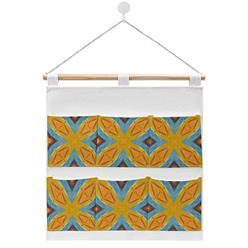 Bolsa de almacenamiento para colgar en la pared, diseño geométrico de azulejos españoles, color amarillo y azul con 6 bolsillos para la familia, baño, dormitorio, cocina