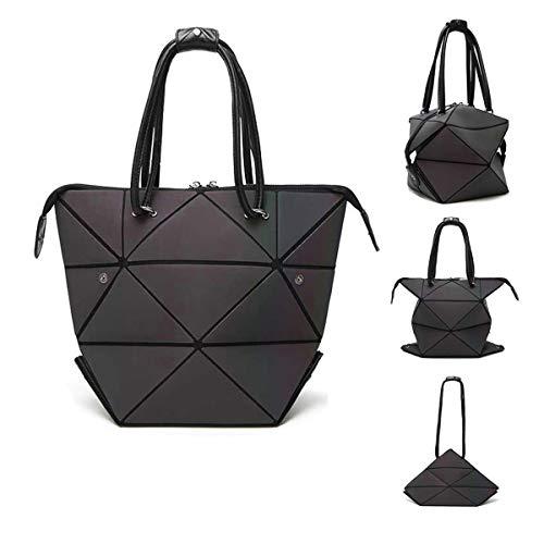Parnerme Mode Geometrische Veränderbare Tasche leuchtenden Handtasche tägliche Arbeit Tote Schultertasche große Einkaufstasche holographische Handtasche für Frauen (colorful-1)