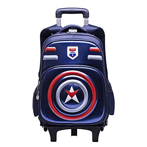 3D Student Bag Zaino per Trolley Carrello da Viaggio con Ruote da Viaggio Impermeabile Captain America Waterproof Boy Business per Ragazzi E Ragazze Borse da Scuola A-6 Wheels