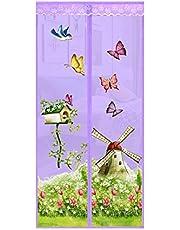 happyhouse009 Cortina magnética para jardín con diseño de mariposas, antiinsectos con mosca, manos libres, pantalla magnética de verano, para ventana y puerta