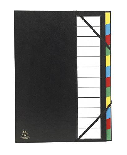 Exacompta 55341E Premium Ordnungsmappe Ordonator. Mit festem Einband für DIN A4 12 Fächer und 2 Gummizüge mit Indexfenster und dehnbarem Rücken Fächermappe Register-Mappe schwarz