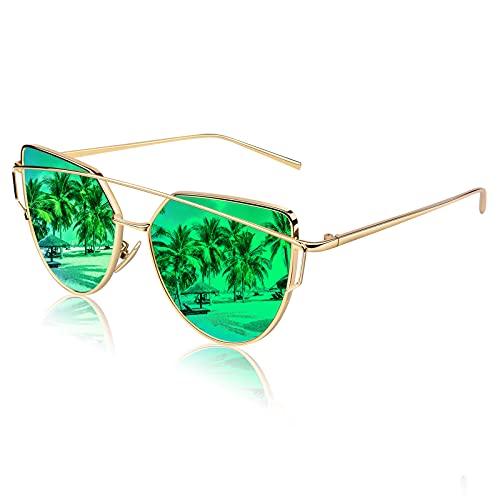 CGID CGID Mode Polarisierte Katzenaugen Sonnenbrille For Damen UV400 reflektierenden Spiegel, B3 Gold Grün,
