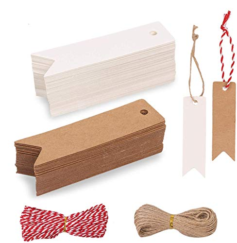 Hoiny Geschenk Anhänger 200 stk.Kraftpapier Anhänger Etiketten Geschenkanhänger mit Jute Schnur für Hochzeitsgeschenke, Party-Geschenkanhänger und Weihnachten (Kraft + weiß)