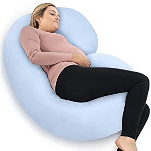 PharMeDoc Pregnancy Pillow with Travel & Storage Bag, C Shaped Full Body Pillow