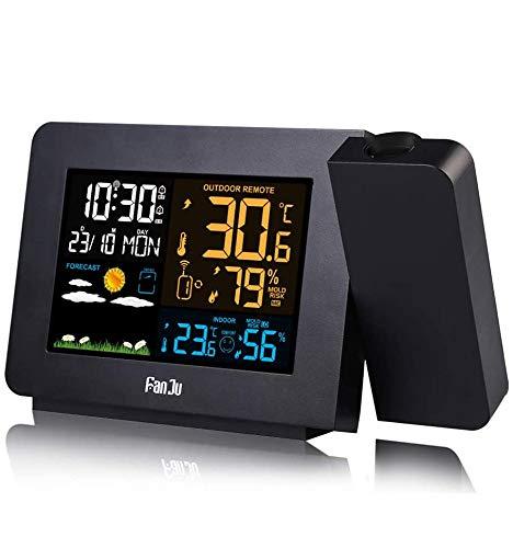 FanJu Projektionswecker Wetterstation mit Display, Außensensor Wecker mit LCD-Anzeige Digitaler Wecker Multifunktionaler Wecker mit Innen Außentemperatur Datum/Uhrzeit/Temperatur/Luftfeuchtigkeit