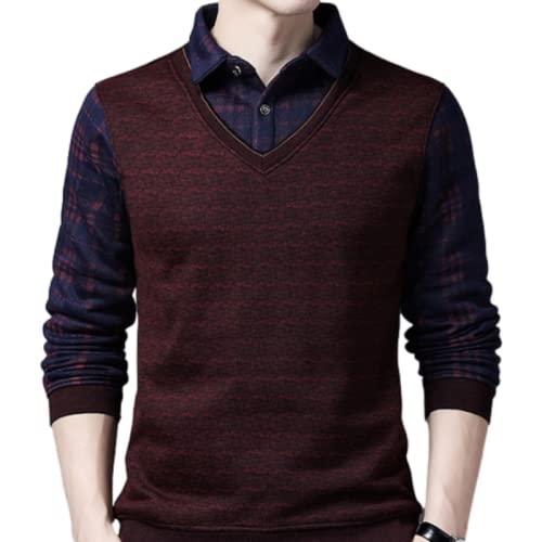 Suéter de Hombre a Cuadros Falso de Dos Piezas de Manga Larga pulóver Prendas térmicas de Ocio de Negocios Casual de Talla Grande XXL