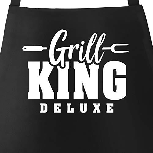 MoonWorks® Grill-Schürze für Männer mit Spruch Grill-King Deluxe Grillschürze Herren Baumwoll-Schürze Küchenschürze White schwarz Unisize