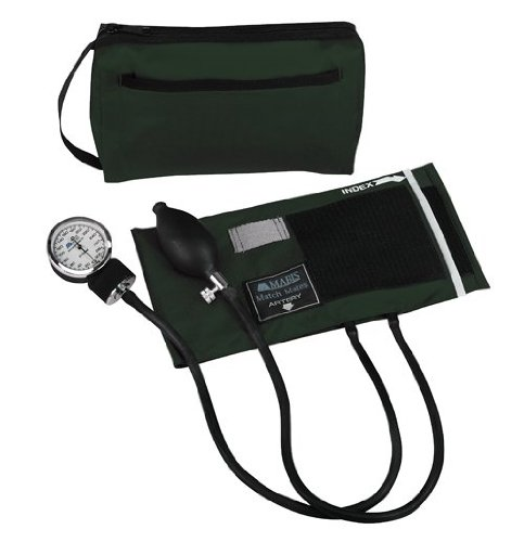 MABIS MatchMates Aneroid Sphygmomanometer Manual Blood Pressure Monitor Kit with Calibrated Nylon Cuff and Carrying Case, Professional Quality, Hunter Green