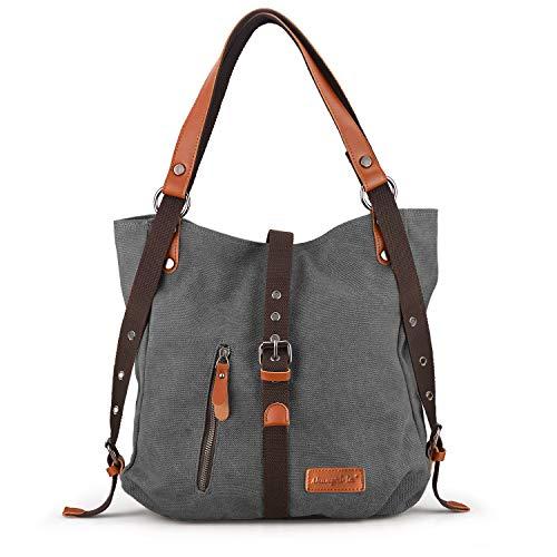 SHANGRI-LA Purse Handbag for Women Canvas Tote Hobo Bag Casual Shoulder School Bag Rucksack Convertible Backpack - Grey