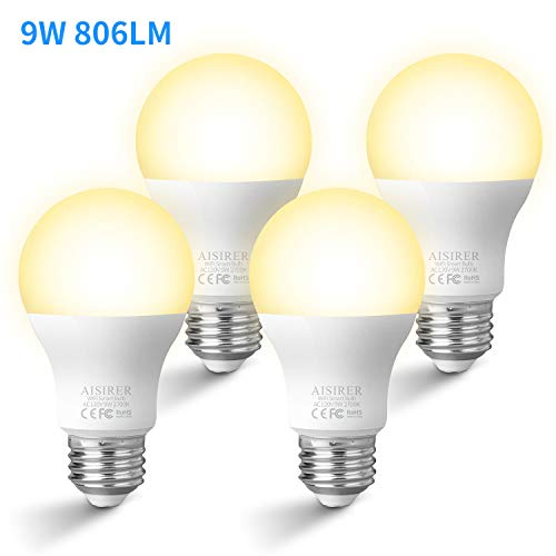 AISIRER Smart Light Bulb WiFi LED Light Bulbs 9W 806LM Compatible with Amazon Alexa Echo Dot Google Home Assistant and IFTTT E26 Dimmable Warm Light 2700K No Hub Required A19 (4 Pack)