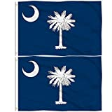 Aisto 2 Pieces 3x5 Feet South Carolina Flag for Outdoor and Indoor Use -Made by 100% Polyester-Vivid Colors and UV Fade Resistant - Double Stitched with Two Brass Grommets.