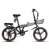 YSHCA20 Pulgadas Plegable Bicicleta, 7 velocidades Marco de Acero al Carbono Bicicleta Plegable Street con Estante Sillin Confort y Defensa Bicicleta Plegable Urbana,Black-B