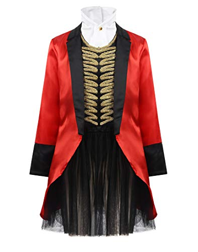 CHICTRY Kids Girls Circus Performance Ring's Master Costume Lion Tamer Cosplay Tailcoat Jacket Halloween Party Outfits 3pcs Red&Black 12-14 Years