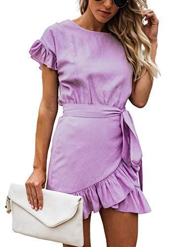 Relipop Women's Dress Solid Fishtail Short Sleeve Wrap Ruffle Hem Mini Short Dresses Purple