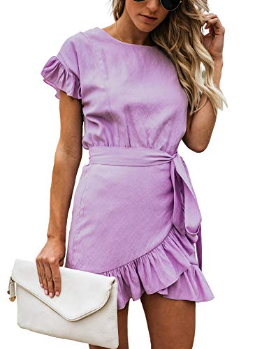 Relipop Women's Dress Solid Fishtail Short Sleeve Wrap Ruffle Hem Mini Short Dresses Purple