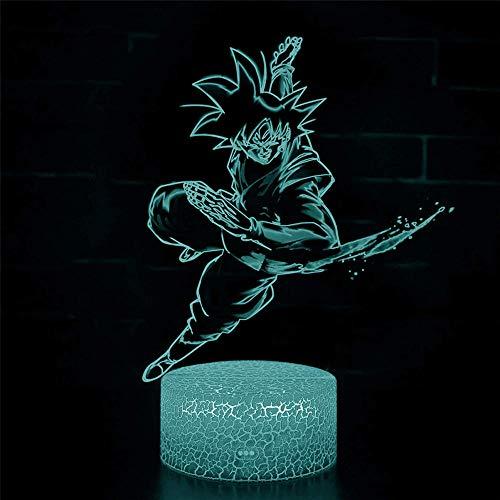 Dragon Ball Super Saiyan Goku 3D LED Lámpara de ilusión de luz nocturna Lámpara de ilusión con control remoto de 16 colores que cambian de Navidad, regalo de cumpleaños para niños y niñas